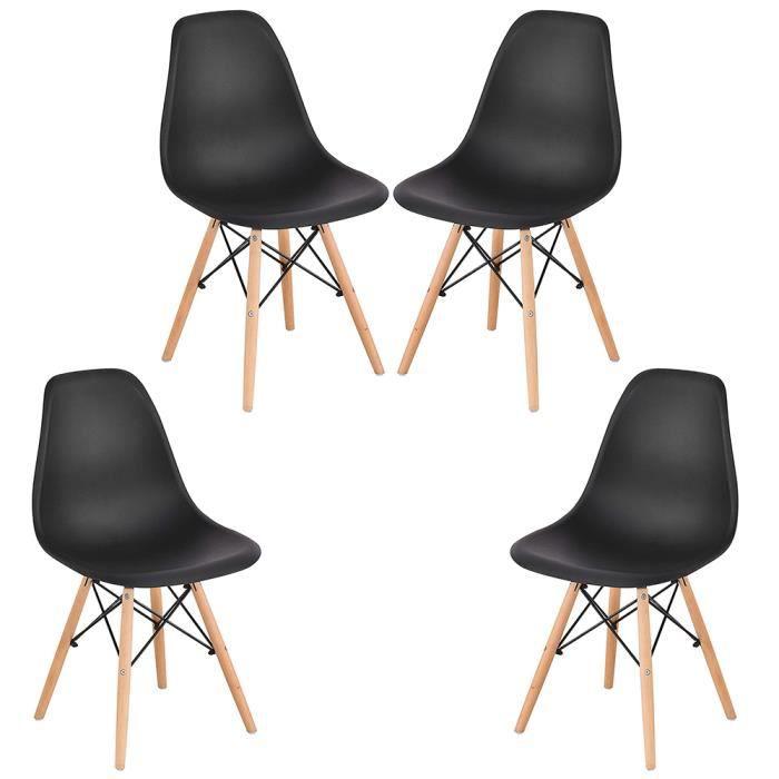 Freestyle - Chaises Scandinaves Design Moderne, Bois & Métal, Lot de 4, Noir