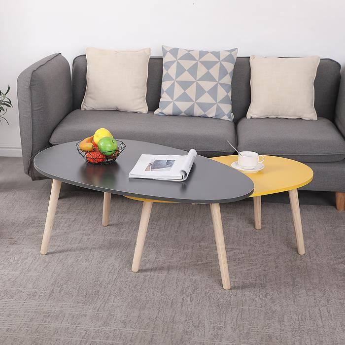 Tables Basses Xinkkau lot de 2 gigogne laquees style scandinave-Gris et Jaune