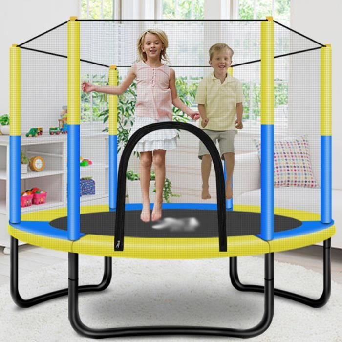 Nouveau trampoline rond silencieux en forme de U pour enfants, trampoline de sécurité fitness, aire de jeux intérieure