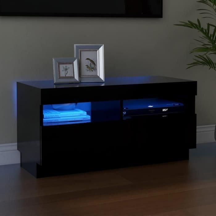 MAGIC®Meuble banc TV - Meuble TV avec lumières LED-Meuble Television moderne Noir 80x35x40 cm Meuble de salon,80 x 35 x 40 cm Haut d