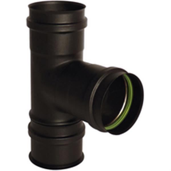 Isotip-joncoux Té 90 + tampon avec joint de silicone noir mat diamètre 80 Gamme APOLLO pellets concentrique réf 893008