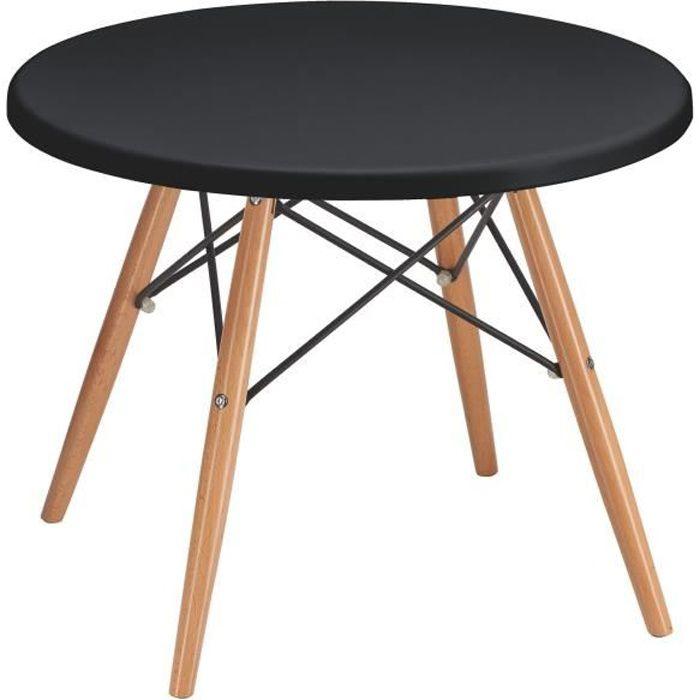 Table basse ronde Marty - plateau noir