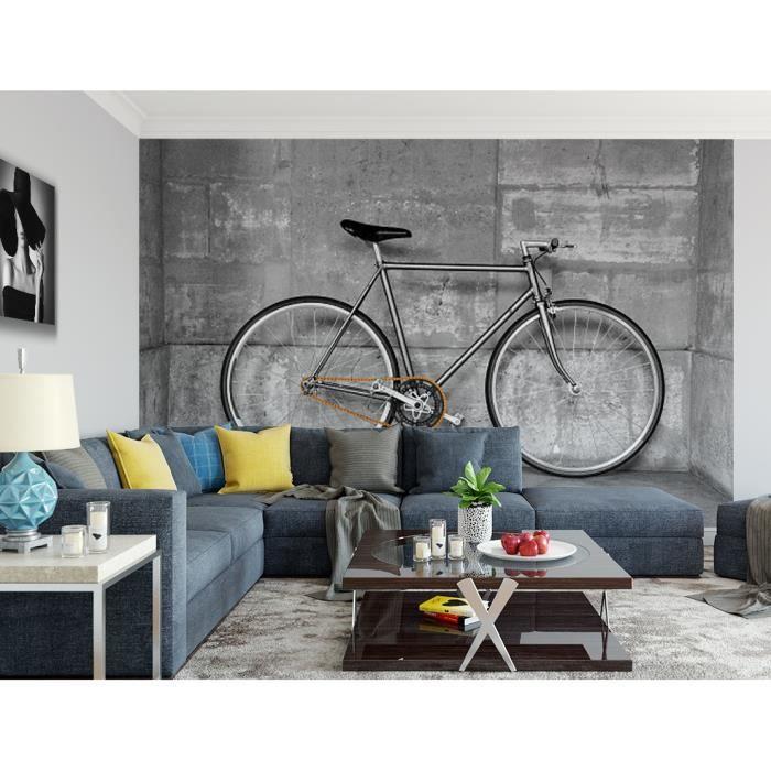 Papier peint finition satiné pré-encollé -Vélo fixie gris béton- L, 411 x H, 270 cm