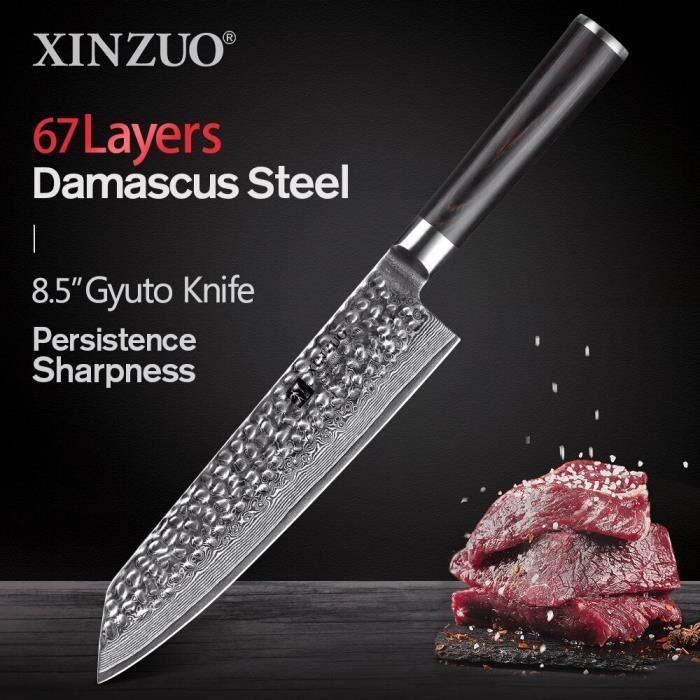 Couteau de Cuisine de Chef Japonais en Damas Xinzuo - 67 Couches Damas du Japon