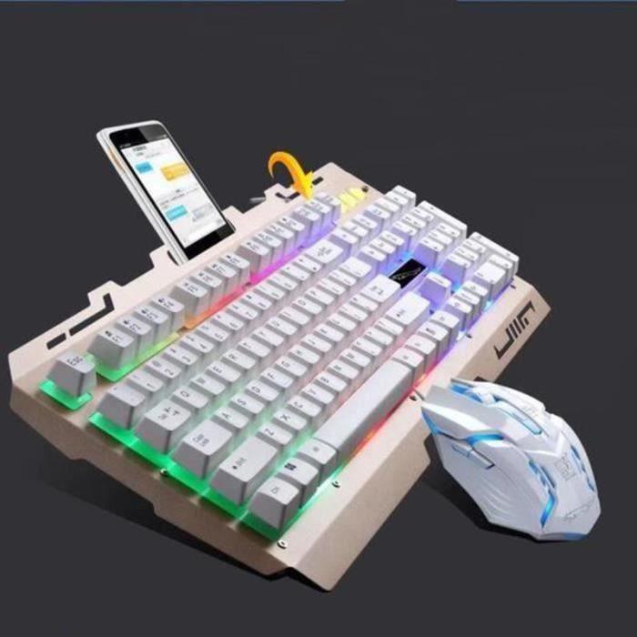 Cool LED rétro-éclairé ergonomique Gaming clavier mécanique Gamer souris ensembles (blanc)-,-isCdav-:false,-price-:9.98,-priceS-:4