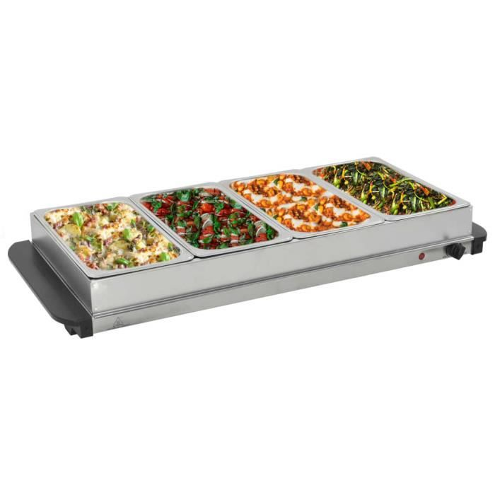 Serveur buffet Portable Plaque - Chauffe-Plats Chafing Dish - Acier inoxydable 400 W 4x2,5 L