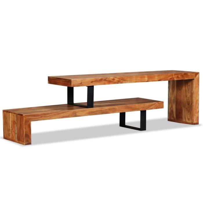 Meuble TV pour Télévision Table Basse, Table de Salon Bois d'acacia massif