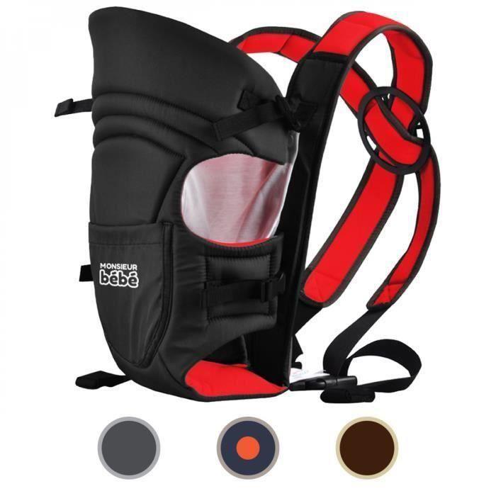Porte bébé ventral 2 positions + poche de rangement - Noir et rouge
