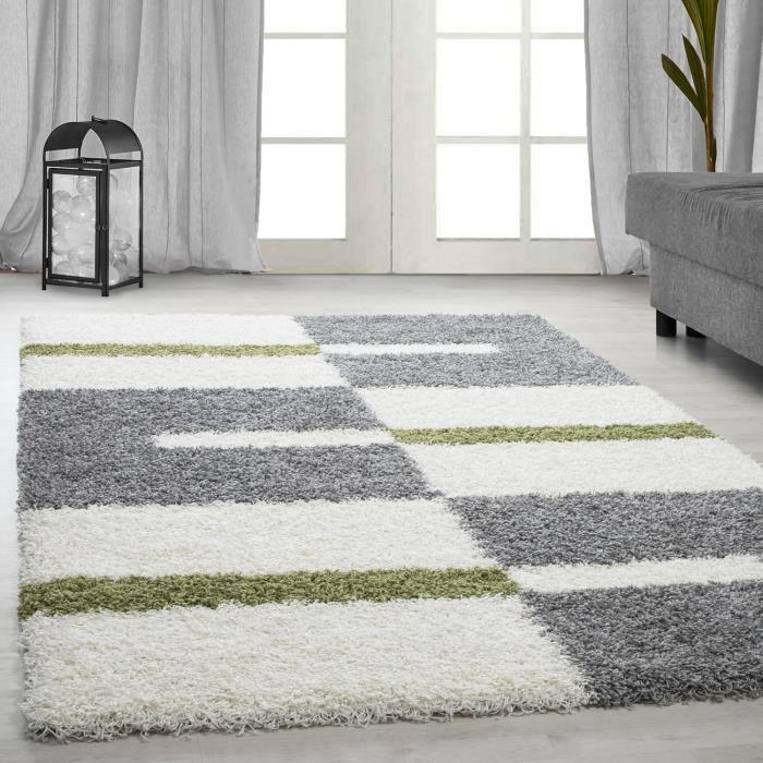 tapis Shaggy Shaggy gris rayé vert rouge tapis beige de salon [vert, 160x230 cm]