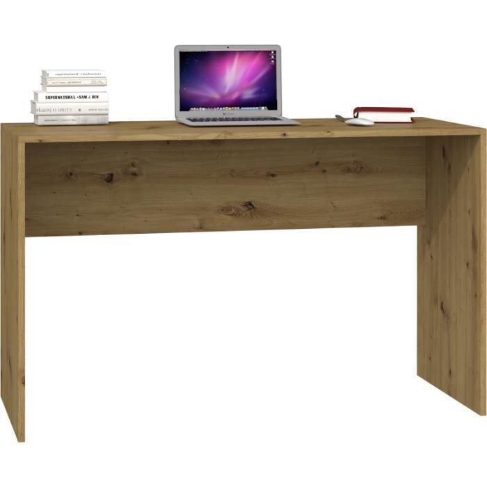 PLUS - Bureau contemporain 120x76x50 cm - Plateau large et confortable - Table ordinateur - Design moderne & fonctionnel - Chêne