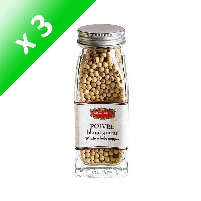 [LOT DE 3] ERIC BUR Epices Poivre Blanc Grains - 56g