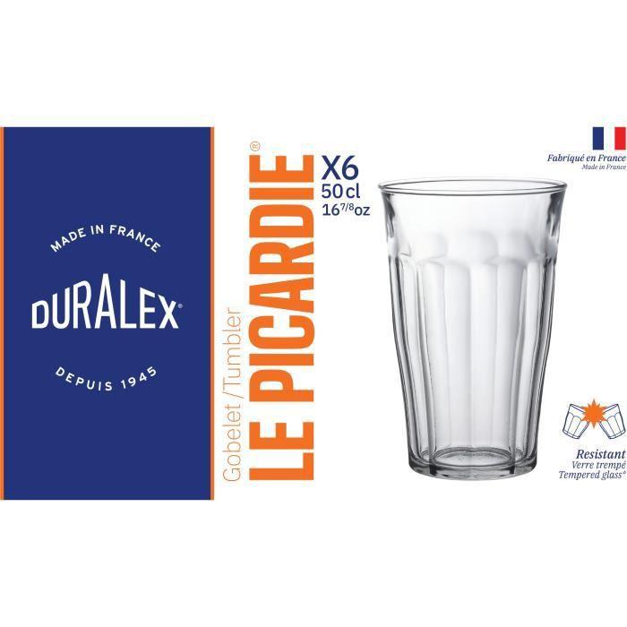 DURALEX Lot de 6 verres gobelets PICARDIE - 50 cl