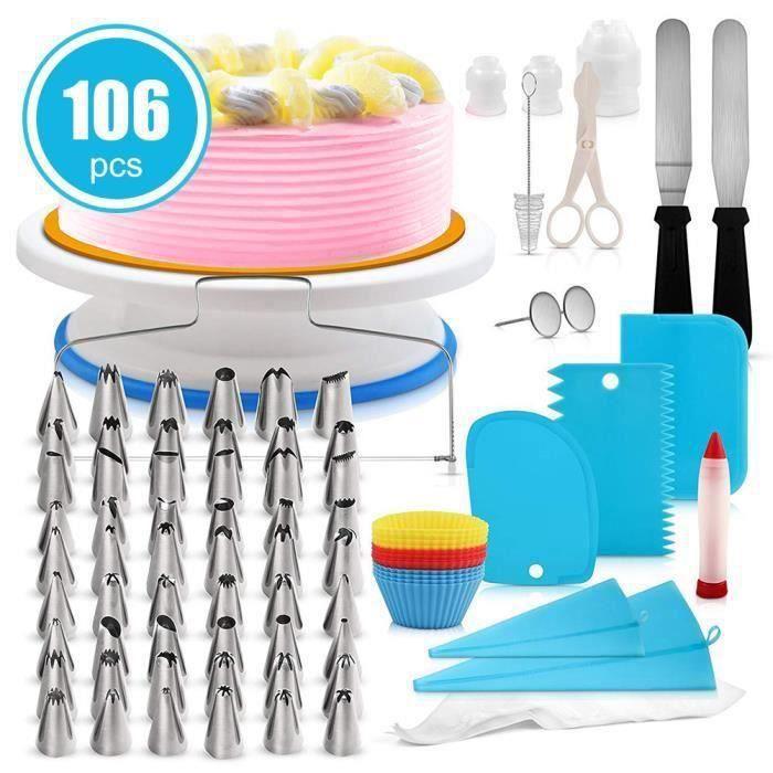 GOBRO,Plateau Tournant Gateaux, 106pcs Décoration Professionnel Ustensiles Kit Pour Décorer Le Gâteau Layer Cake