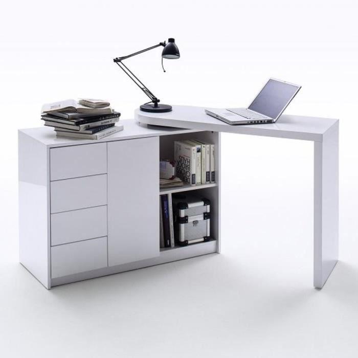 Bureau modulable MARKUS laqué blanc brillant blanc Bois Inside75