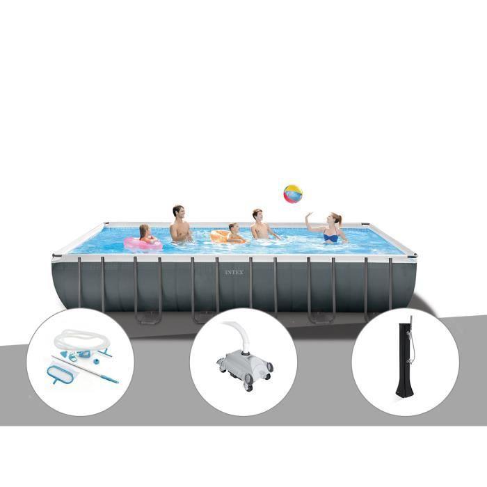 Kit piscine tubulaire Intex Ultra XTR Frame rectangulaire 7,32 x 3,66 x 1,32 m + Kit d'entretien + Robot nettoyeur + Douche solaire