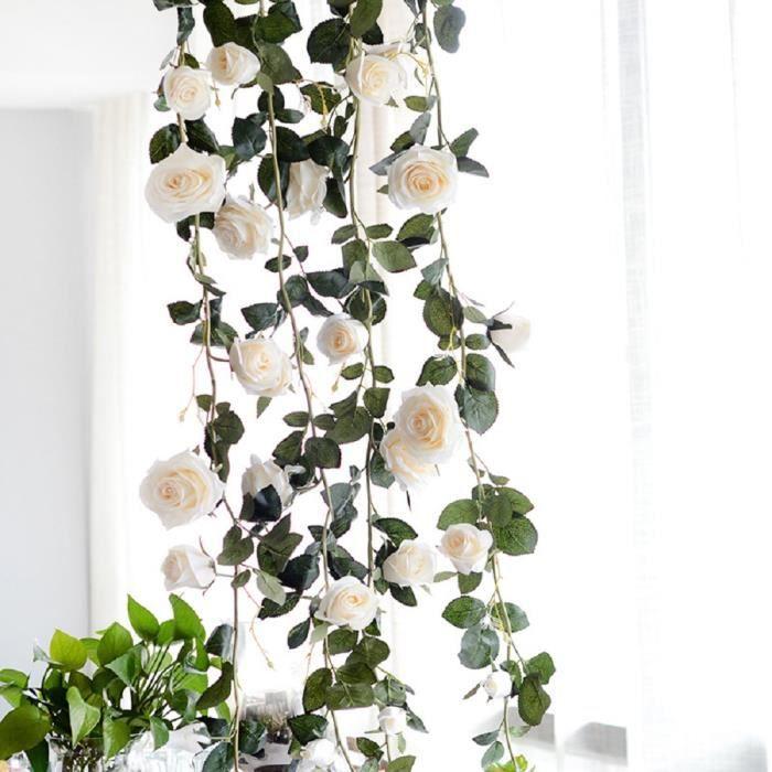 6 PCS Artificielle Rose Fleurs De Soie De Rotin Pour La Maison En Plein Air Mariage Arch Garden Wall Decor -Blanc
