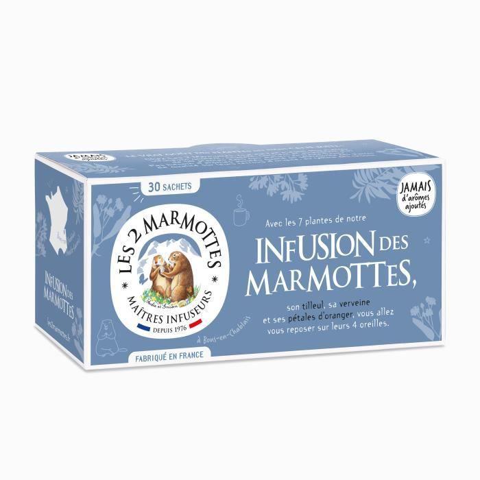 Les 2 Marmottes - -Infusion des Marmottes- 30 sachets - Tilleul et Verveine - Made In France - Sans arômes ajoutés