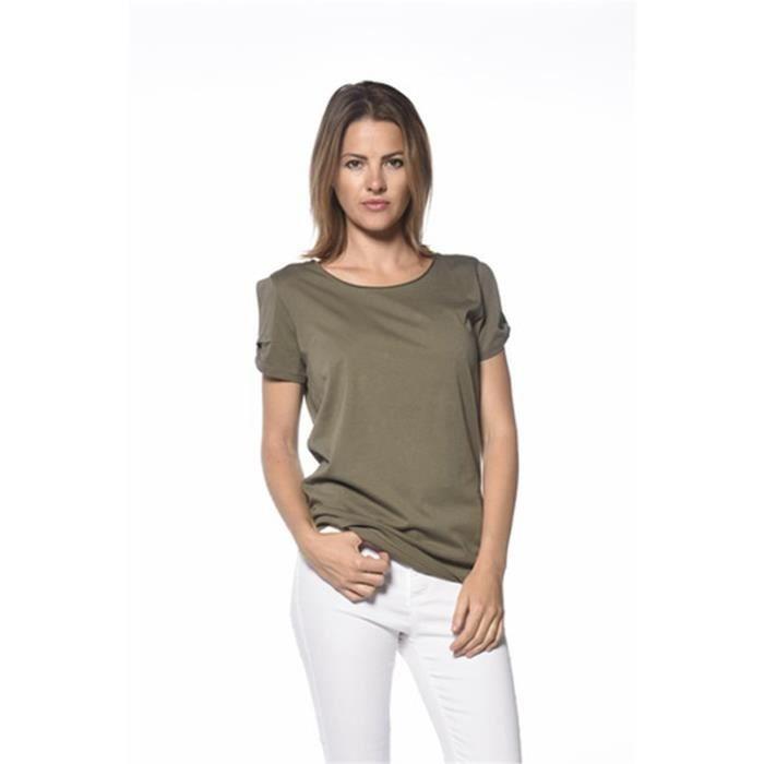 DEELUXE T-Shirt Trust Manches Courtes Dévoré Kaki Femme