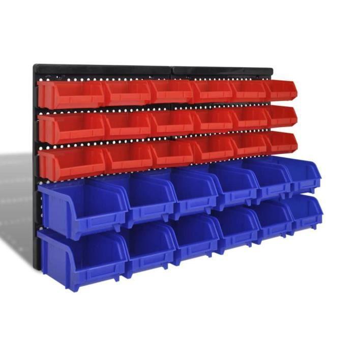Jeu de paniers muraux de stockage Plastique 30pcs 100 x 50 x 90 mm Bleu et rouge