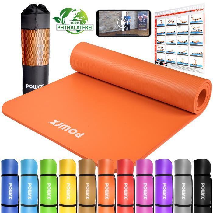 Tapis de gymnastique de 1,5 cm d'épaisseur 60 ou 100 cm de large Couleur: Orange, Taille: 190 x 80 x 1,5 cm