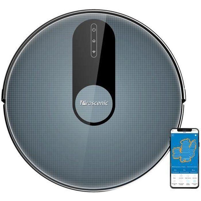PROSCENIC Aspirateur Robot 820P-Nettoyeur et Laveur 3 en 1- Connecté Wifi -1800pa-2000mAh Batterie-120min Autonomie-Ultra Fin Bleu