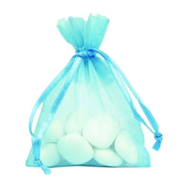 Sac de 10 sachets Organza pour dragées Bleu