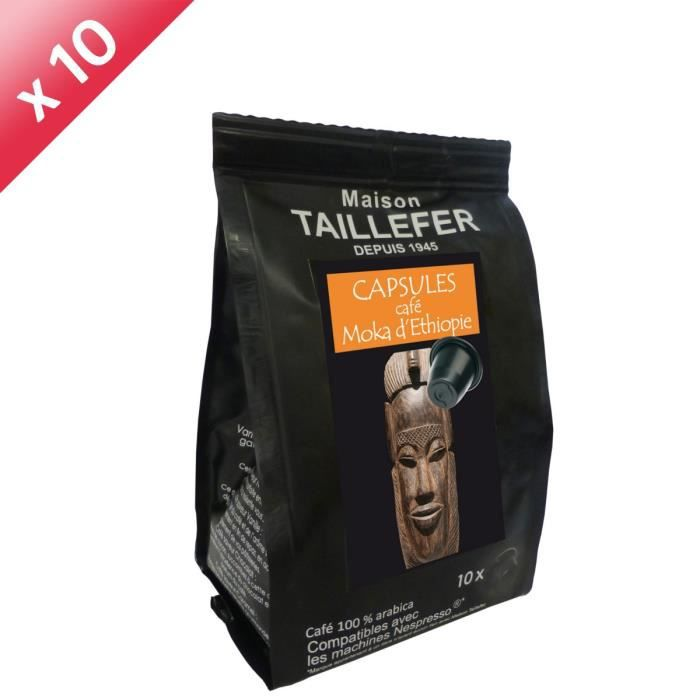 MAISON TAILLEFER Café Moka d'Ethiopie Lot de 10 sachets de 10 capsules soit 100 capsules