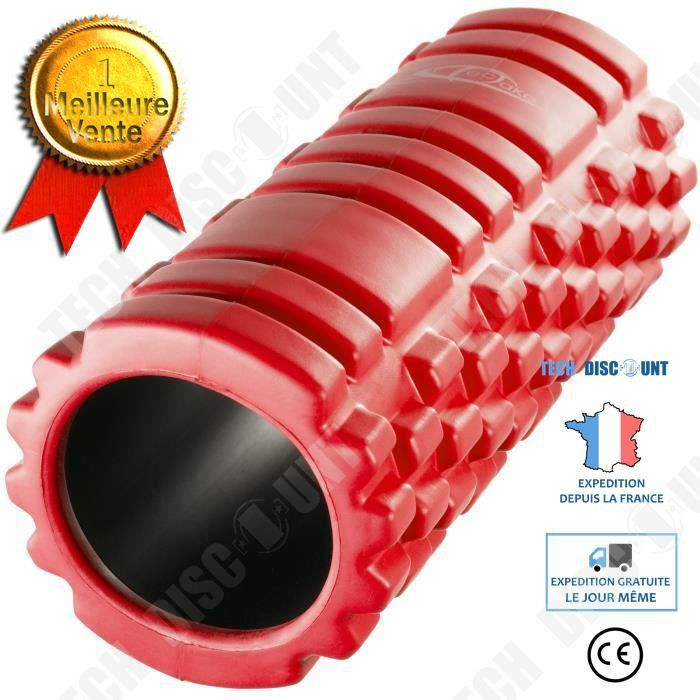 TD® Rouleau de Massage Roller Sport Fitness en Mousse Rouge/ Fitness, Sport