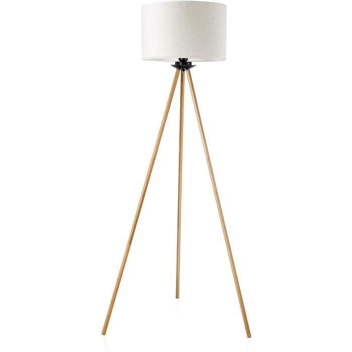 blanc salon tr/épied classique Lampadaire Minimaliste Lampe Sur Pied Avec interrupteur LED moderne avec abat-jour en tissu Lampe De Sol E27 en m/étal pour lampe de lecture bureau chambre /à coucher