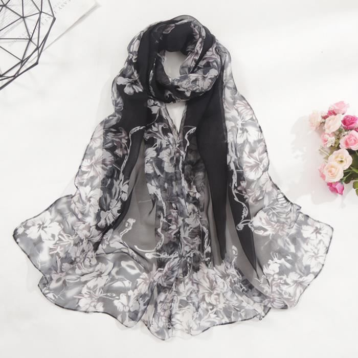 Mode De Femme De Soie Cou Écharpe Envelopper Imprimé Châle Etole Foulard Echarpe