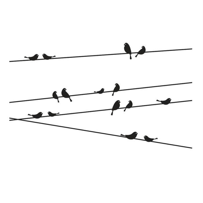 STICKERS Stickers muraux Oiseaux se tenir sur le fil des dé