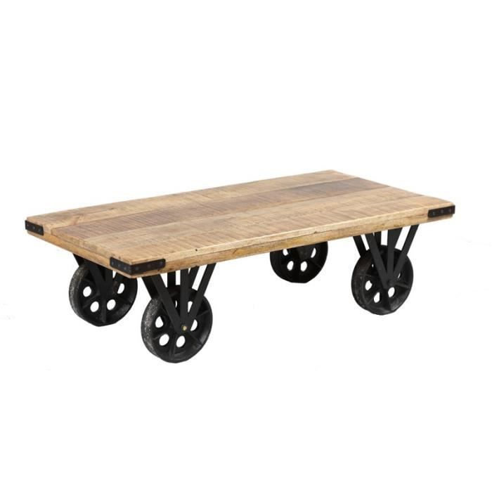 table basse sur roues bois et acier aglae l 110 x l 55 x h 33 cm achat vente table basse. Black Bedroom Furniture Sets. Home Design Ideas