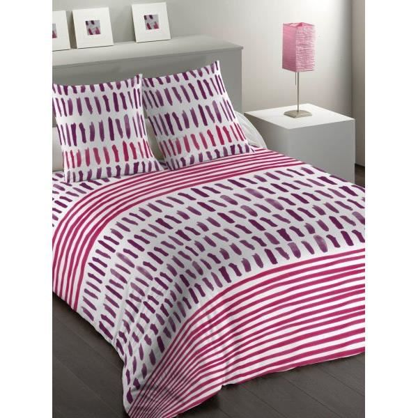 housse de couette 240x260 cm microfibre mark fuchsia 2 taies d oreiller 63x63 cm achat. Black Bedroom Furniture Sets. Home Design Ideas