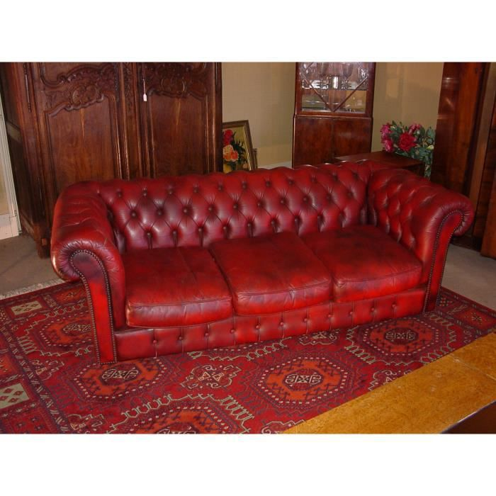canape chesterfield rouge achat vente canap sofa divan cuir cdiscount. Black Bedroom Furniture Sets. Home Design Ideas