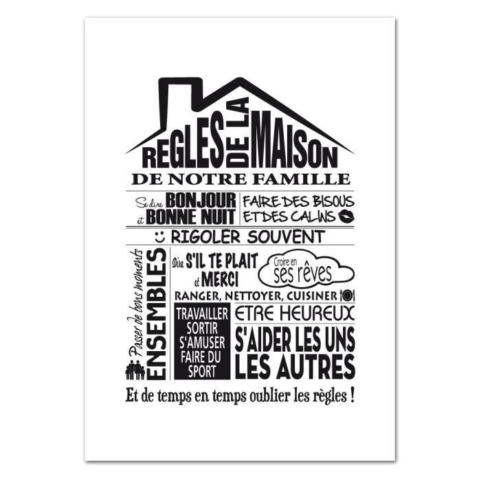 Poster Les Regles De La Maison Version Noir Et Blanc Dimensions 50 X 70 Cm Papier Brillant Achat Vente Affiche Poster Cdiscount