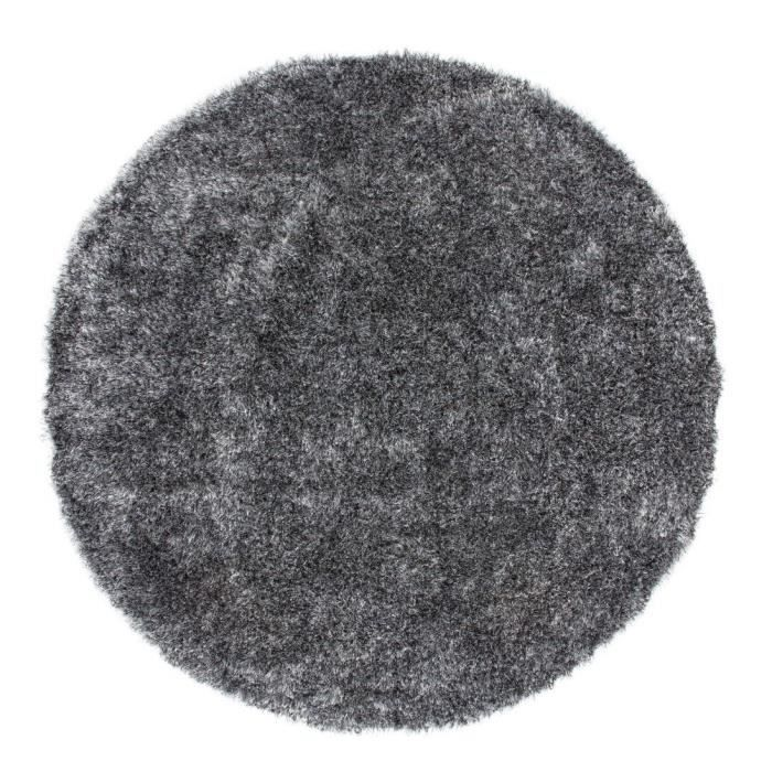 tapis shaggy uni gris 35 mm 200x200 cm rond achat. Black Bedroom Furniture Sets. Home Design Ideas