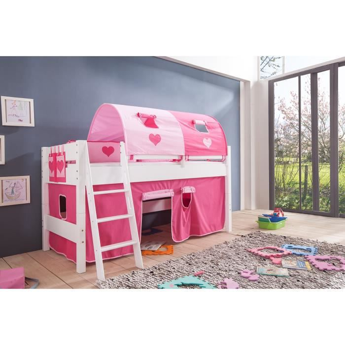 lit mi hauteur enfant coloris blanc d co rose achat vente lit mezzanine cdiscount. Black Bedroom Furniture Sets. Home Design Ideas