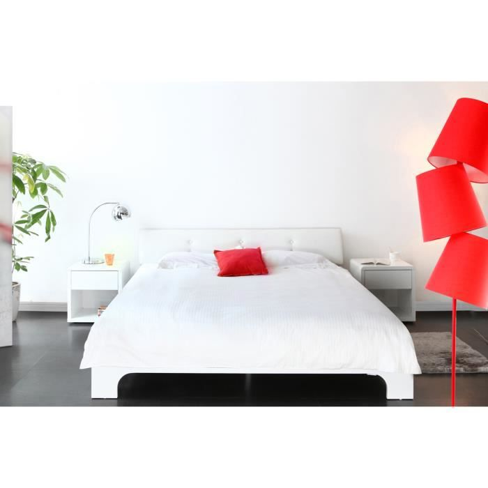 lit 2 places laque blanc achat vente pas cher. Black Bedroom Furniture Sets. Home Design Ideas