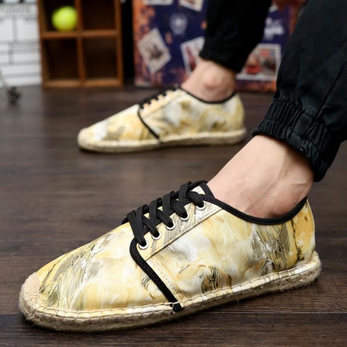 Hommes Chaussures Plates Impression Mode Toile ...