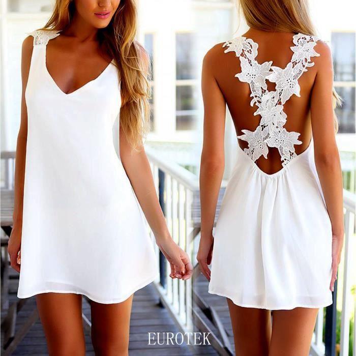 Ete Femme Mini Robe Sexy Barboteuses Robes De Plage Dos Nu Col V Loisir Dentelle Mini Jupe Blanc Blanc Achat Vente Robe De Plage Cdiscount