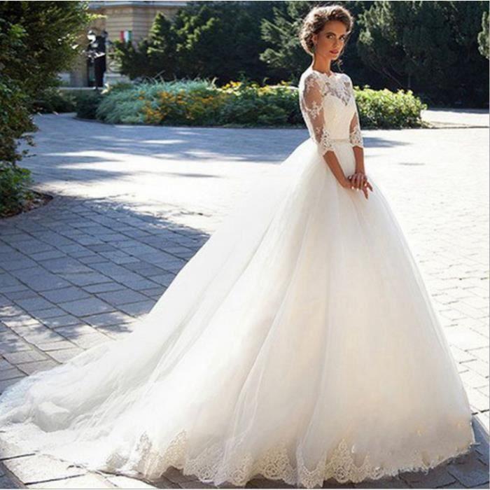 Robe de mariee avec manche longue - Achat