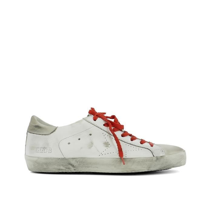 GOLDEN GOOSE HOMME G30MS590B67 BLANC CUIR BASKETS