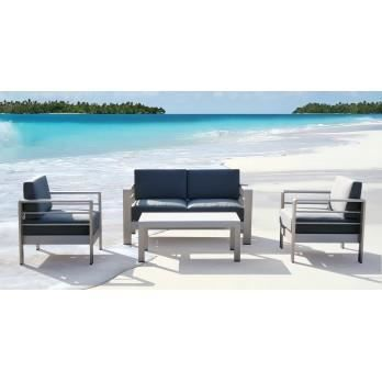 Salon de jardin galapagos 4 places aluminium gris achat for Amazon salon de jardin aluminium