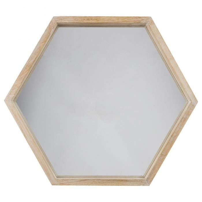 Paris prix miroir hexagone bois scandinave 60cm marron - Cocktail scandinave miroir ...
