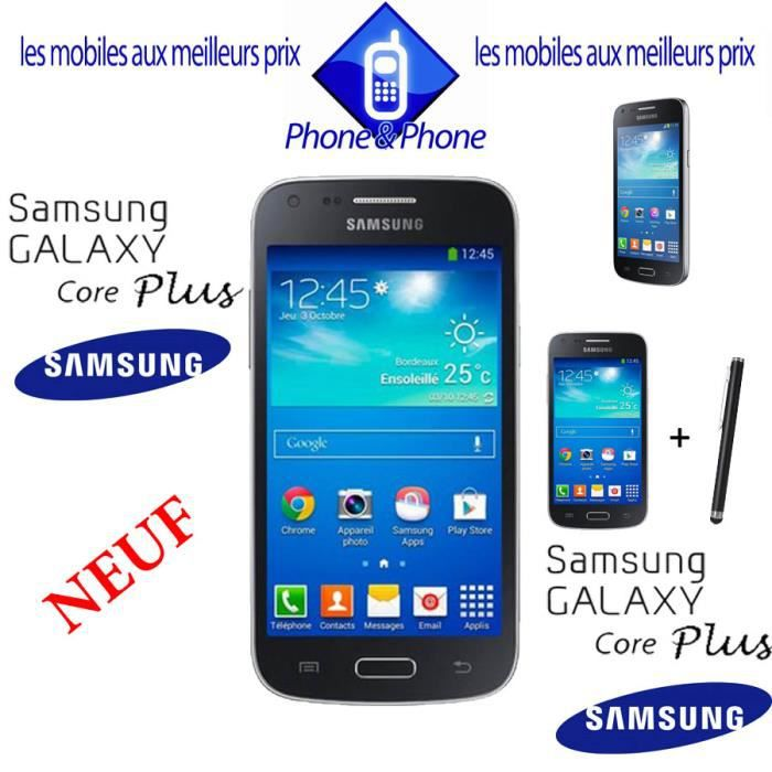 samsung galaxy core plus noir neuf stylet smartphone. Black Bedroom Furniture Sets. Home Design Ideas