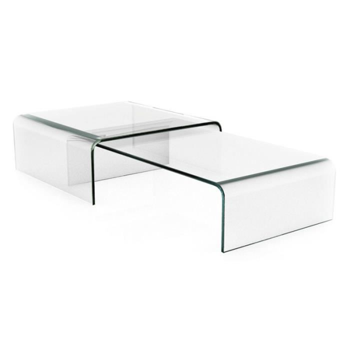 table basse design double pont transparente achat. Black Bedroom Furniture Sets. Home Design Ideas