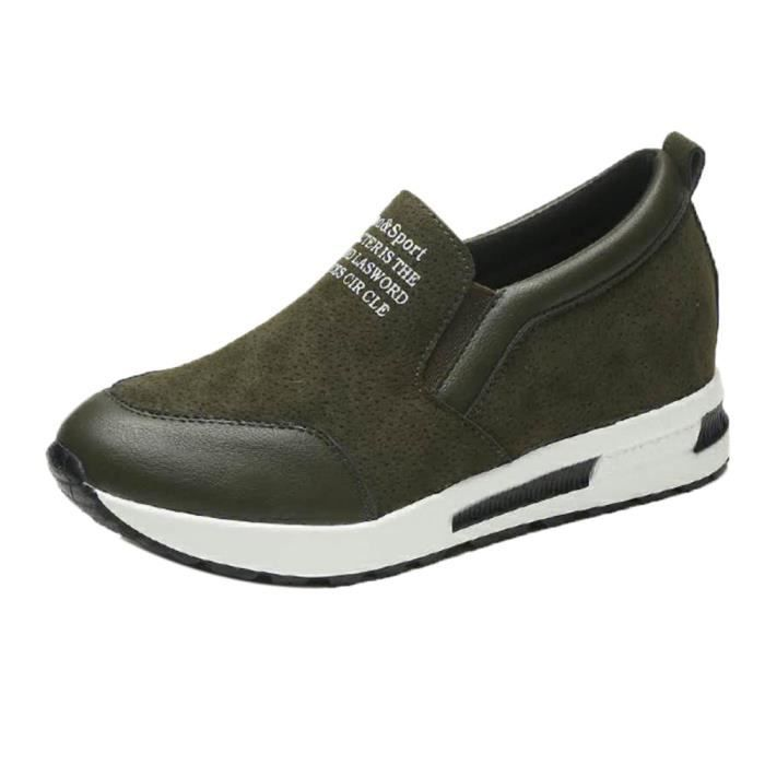 Napoulen®mode cales plate-forme Chaussures Slip on Loisirs populaire Vert-XYM71107903GN