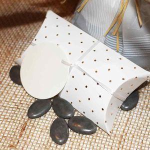 BOÎTE À DRAGÉES 4 pcs boite, contenant dragées blanc à pois or ,ru