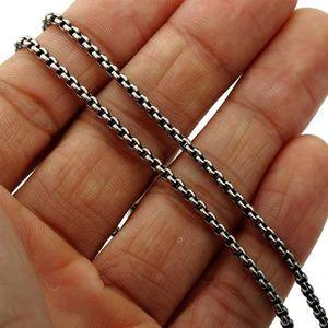 CHAINE DE COU SEULE Chain 2mm minces Hommes Garçons Boîte ronde ton ar