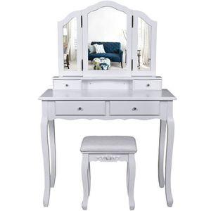 COIFFEUSE Grande Coiffeuse Table De Maquillage Avec 3 Miroir